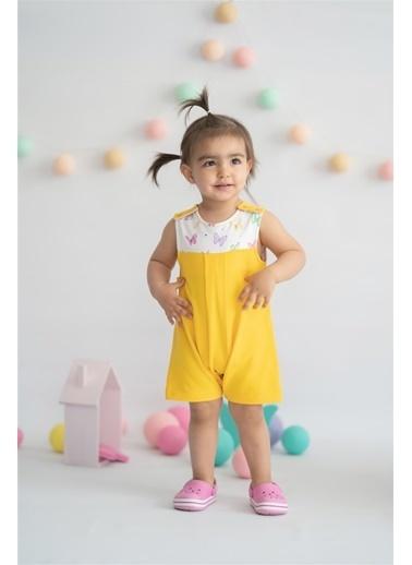 Nila Kids Hello Sunshine Organik Kız Bebek Tulum Sarı